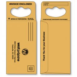 doorknob hanger envelope in brown kraft printed in black ink