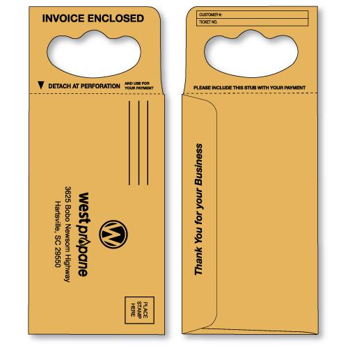 doorknob hanger envelope in brown kraft printed in black ink