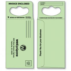 doorknob hanger envelope in pastel green printed in black ink