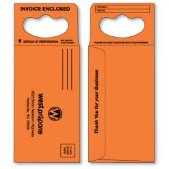doorknob hanger envelope in bright orange printed in black ink
