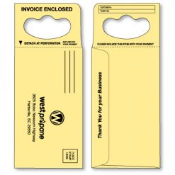 doorknob hanger envelope in canary yellow printed in black ink