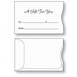 Gift card envelope style A with A Gift for You printed in black ink