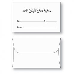 Gift card envelope style D printed with A Gift for You in black ink