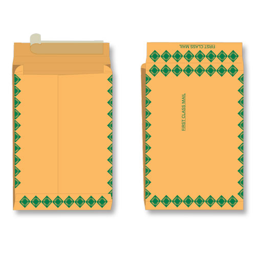 Paper expansion brown kraft first class green diamond border open end