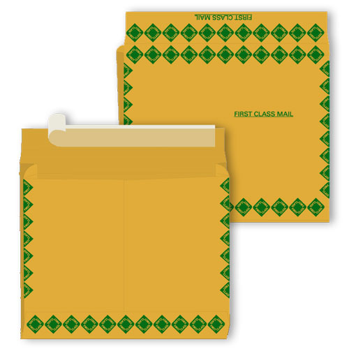 Paper expansion brown kraft first class green diamond border envelope