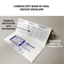Carbon copy bank-by-mail deposit envelope shown with double bangtail flaps extended imprinted with financial institution's form for depositor.