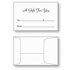 Gift card envelope style E printed with A Gift for You in black ink