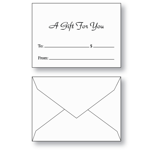 Gift Card Envelopes — Stock Printed