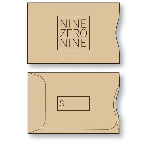 Gift Card Envelope Style A Sleeve in Gift Bag Brown Kraft custom printed
