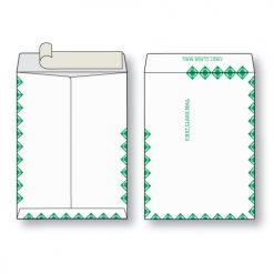 Paper flat first class green diamond border white kraft open end