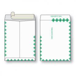 Paper flat first class green diamond border white kraft open end