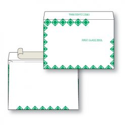 Paper flat first class green diamond border white kraft open side