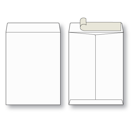 paper flat white kraft open end peel n seal envelope