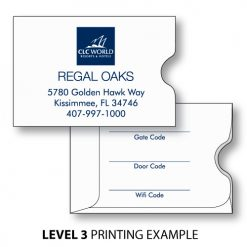 key card holder sleeve with level 3 simple printing example