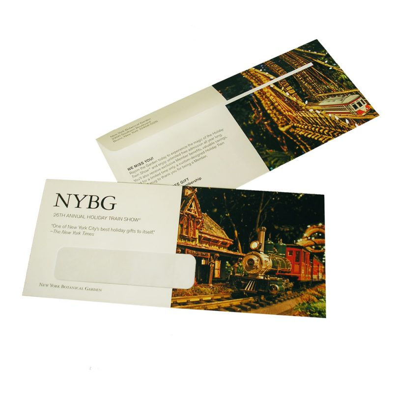 PINE Pinnacle Award winning envelope conversion for New York Botanical Garden #10 window envelope