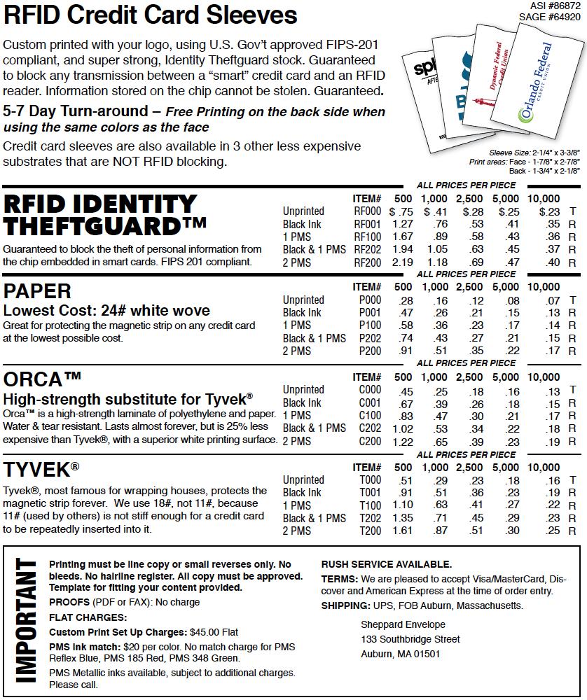 Paper Credit Card Sleeves Unprinted Sheppard Envelope