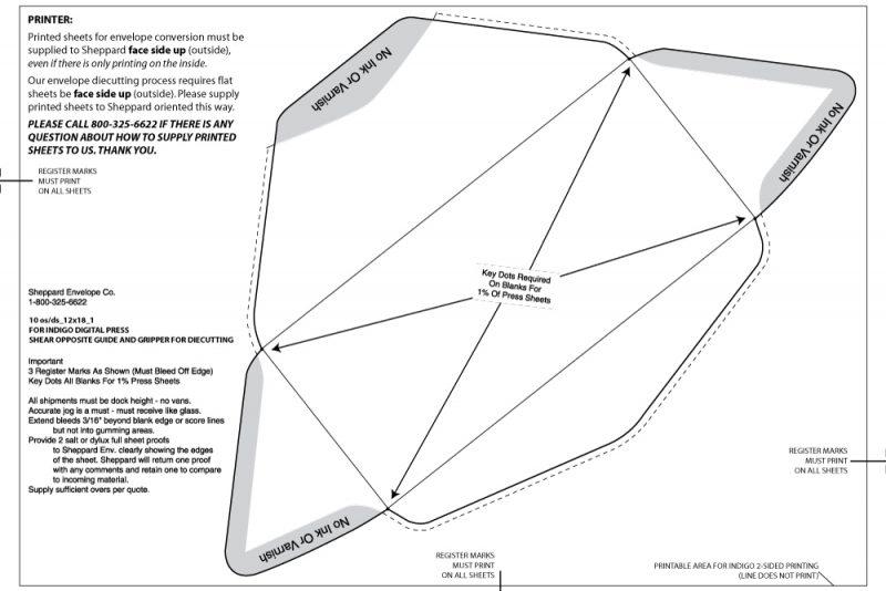 #10 regular commercial (diagonal seam) Indigo Digital Press Layout, 1 up on 12 x 18 sheet