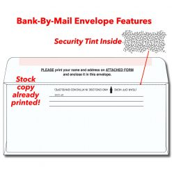 Bank-by-mail envelope with stock printed features