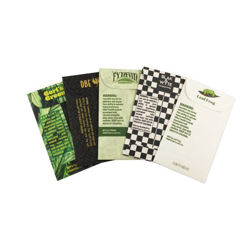 #3 Coin Deluxe Cannabis envelope custom printed examples showing back view
