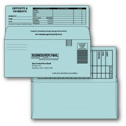9 bangtail bank-by-mail remittance envelope blue custom printed