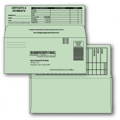 9 bangtail bank-by-mail remittance envelope green custom printed