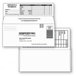 9 bangtail bank-by-mail remittance envelope white custom printed
