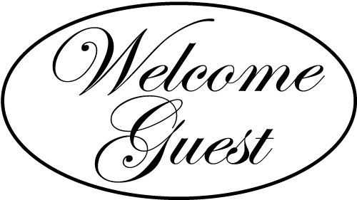 "Hotel key card sleeve stock printed Welcome Guest logo with ""Welcome Guest"" in script font and enclosed in an oval"
