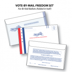 vote-by-mail freedom set of three envelopes for bi-fold folded-in-half ballots