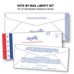 vote-by-mail liberty set of three envelopes for tri-fold folded-in-thirds ballots