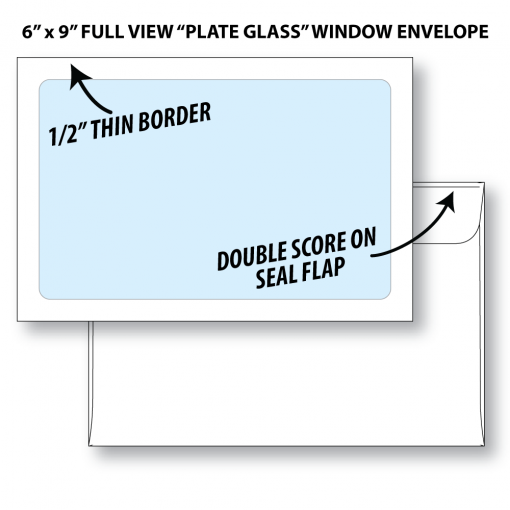 "6""x9"" full view ""plate glass"" window envelope shown front and back. Front shows full view window with 1/2"" paper border. Back shows double score on seal flap."