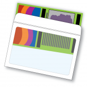 Full view window envelope with colorful publication being inserted into the full view envelope