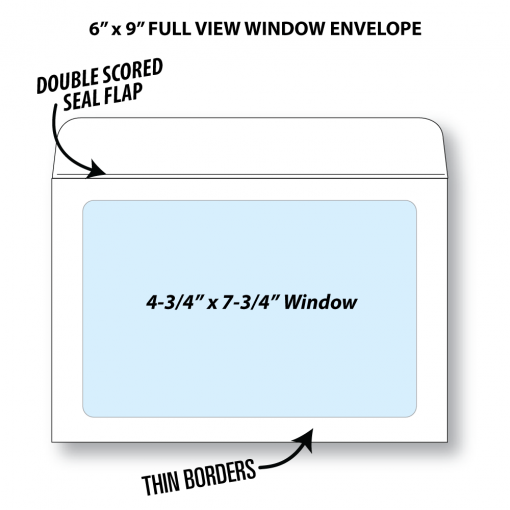 "Illustrative rendering of a 6"" by 9"" booklet envelope with full view window showing window size at 4-3/4"" x 7-3/4"" and that it has a double scored seal flap and thin borders"