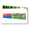 "Illustrative rendering of a Number 10 booklet envelope with full view window shown with facsimile of a colorful sales insert in bright green, orange, purple and blue with ""sale"" and ""Save Big! Buy Now!"" text"
