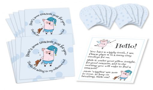 "Wiggly the Tooth Fairy Piggy Blue Polka Dotted Envelopes Set of ten 3-1/2"" by 3-1/2"" square envelopes printed with blue polka dots, and stylized ""pig fairy"" figure holding stuffed bear with text that circles around it, ten 1-1/2"" by 1-1/2"" miniature square envelopes with blue polka dots, and a small sheet of paper with ""pig fairy"" figures and text instructions."