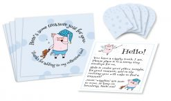 "Wiggly the Tooth Fairy Piggy Blue Polka Dotted Envelopes Set of five 3-1/2"" by 3-1/2"" square envelopes printed with blue polka dots, and stylized ""pig fairy"" figure holding stuffed bear with text that circles around it, five 1-1/2"" by 1-1/2"" miniature square envelopes with blue polka dots, and a small sheet of paper with ""pig fairy"" figures and text instructions."