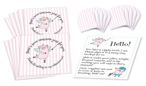 "Wiggly the Tooth Fairy Piggy Pink Stripe Envelopes Set of ten 3-1/2"" by 3-1/2"" square envelopes printed with pink stripes, and stylized ""pig fairy"" figure holding wand pointing to text that circles around it, ten 1-1/2"" by 1-1/2"" miniature square envelopes with pink stripes, and a small sheet of paper with ""pig fairy"" figures and text instructions."