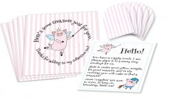 "Wiggly the Tooth Fairy Piggy Pink Stripe Envelopes Set of five 3-1/2"" by 3-1/2"" square envelopes printed with pink stripes, and stylized ""pig fairy"" figure holding wand pointing to text that circles around it, five 1-1/2"" by 1-1/2"" miniature square envelopes with pink stripes, and a small sheet of paper with ""pig fairy"" figures and text instructions."