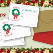 "Gift card envelopes for the holidays. Style B baronial envelopes white with ivy wreathes with either Happy Holidays or Merry Christmas text with red ribbon bows. Envelopes also printed with ""A Gift for You"" and ""to, from, amount"" lines. Two additional back views of envelope in gold leaf stock and bright red stock."