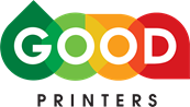 "Good Printers logo, with four tear-drop shapes in dark green, light green, orange, and red, and the word ""good"" imposed in white lettering, and the word ""Printers"" in black below it."