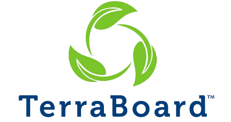 "TerraBoard products logo featuring three stylized leaves in a circular pattern in bright green color and ""TerraBoard"" text in sans serif font in dark blue color"