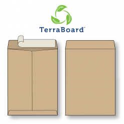 "TerraBoard 10 point brown eco-friendly flat envelope shown front and back with peel n seal closure. Image also shows the TerraBoard logo consisting of three bright green stylized leaves in a circular pattern and ""TerraBoard"" text in dark blue sans serif font."