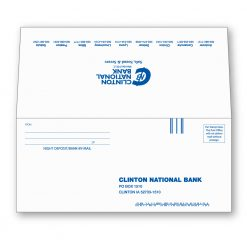 """Carbonless NCR bank by mail deposit envelope shown face side with Clinton National Bank's return mail address, intelligent mail barcode, FIM, and """"from"""" name and address lines. Seal flap is shown extended with Clinton National Bank logo and text highlighting their locations."""