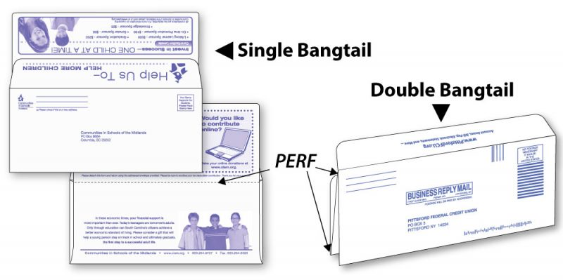 #9 single bangtail and #9 double bangtail envelopes shown custom printed and perforation locations
