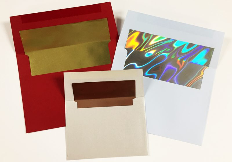 Foil lined envelopes shown with a variety of foil liners.